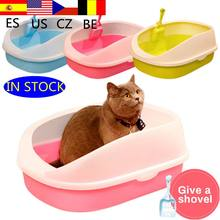 Cão de estimação toalete gato caixa de areia gato bandeja de cão teddynti-splash toilette com maca de gato pá filhote de cachorro gato indoor casa sandbox 1 pc(China)