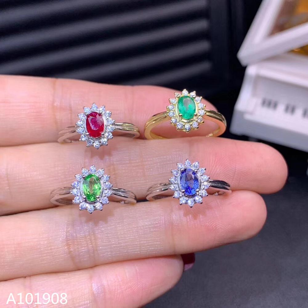 Jewelry Natural Sapphire Ring-Support-Detection Ruby Emerald 925-Sterling-Silver Inlaid