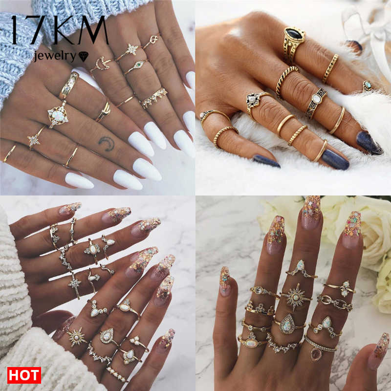 17KM 20 Design Vintage Gold Star Moon Rings Set For Women BOHO Opal Crystal Midi Finger Ring 2019 Female Bohemian Jewelry Gifts