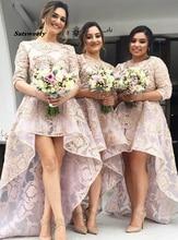 Vestido Де Casamento Трапециевидный Высокая Низкая Платья Невесты Бато Развертки Поезд 3/4 Рукавами