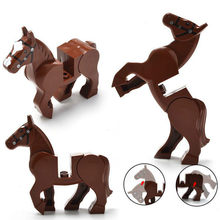 1pcs Brown Horse Model Building Kits Snow Leopard Crocodile Tiger Animal Cow Cattle Horse Shark Model Blocks Bricks Bricks Toys(China)