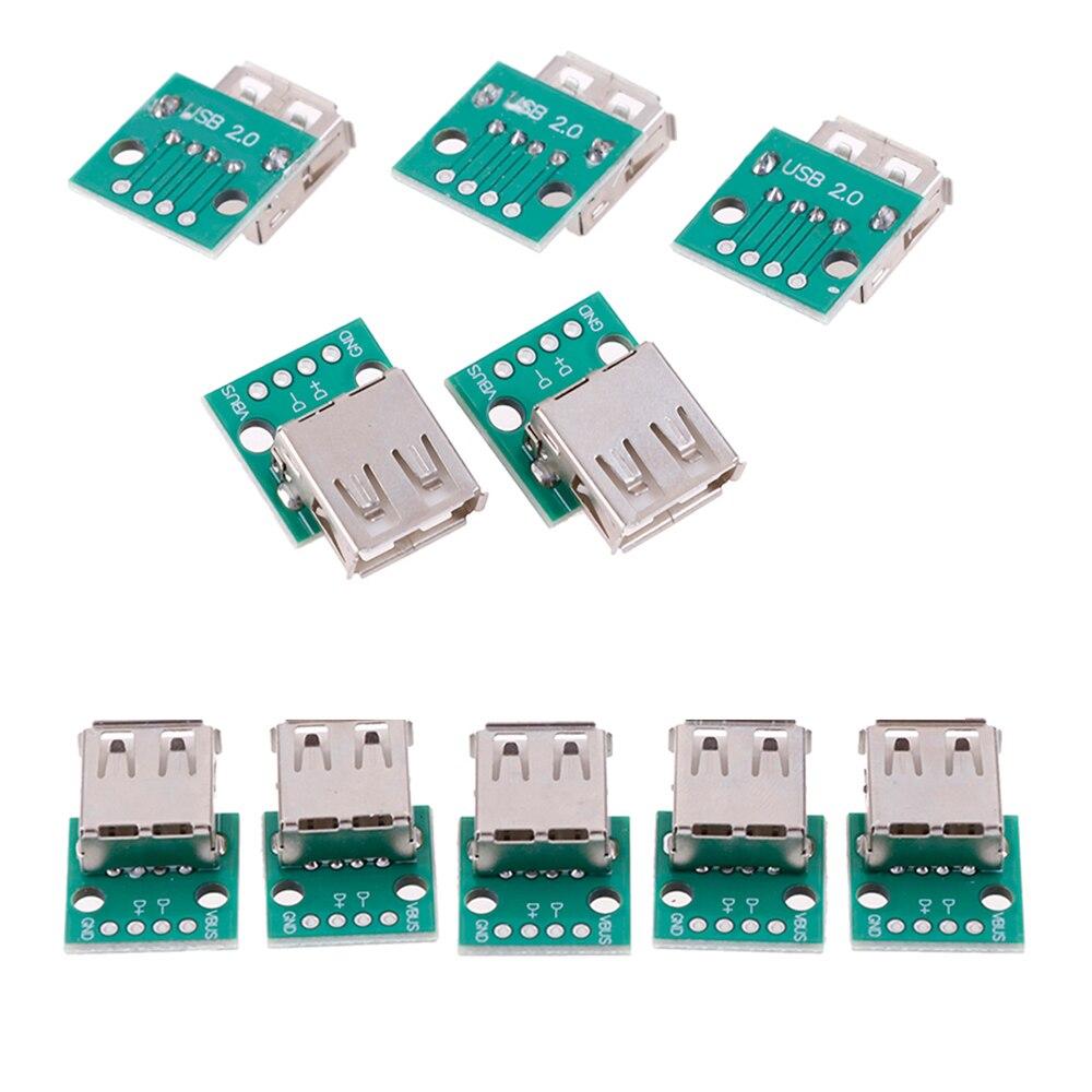 5 adet/grup tip A dişi USB DIP 2.54mm PCB konektörü USB PCB kurulu konnektörleri toptan