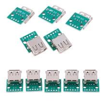 5 pièces/lot Type un USB femelle pour tremper 2.54mm PCB connecteur USB carte PCB connecteurs en gros