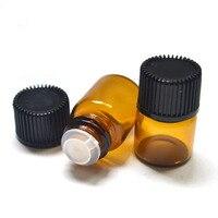 Garrafa pequena do óleo essencial dos frascos de vidro do âmbar de 5 pces 1ml mini com redutor do orifício e garrafas pequenas do tampão