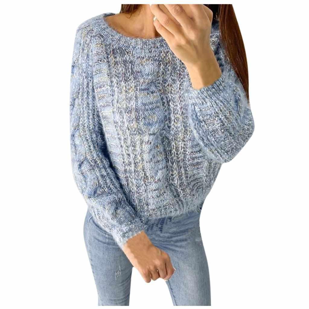 ผู้หญิงฤดูหนาวเสื้อกันหนาว Casual O-Neck แฟชั่นหลวมยาวแขนยาวผู้หญิง olid สี Femme Casual ถัก Streetwear