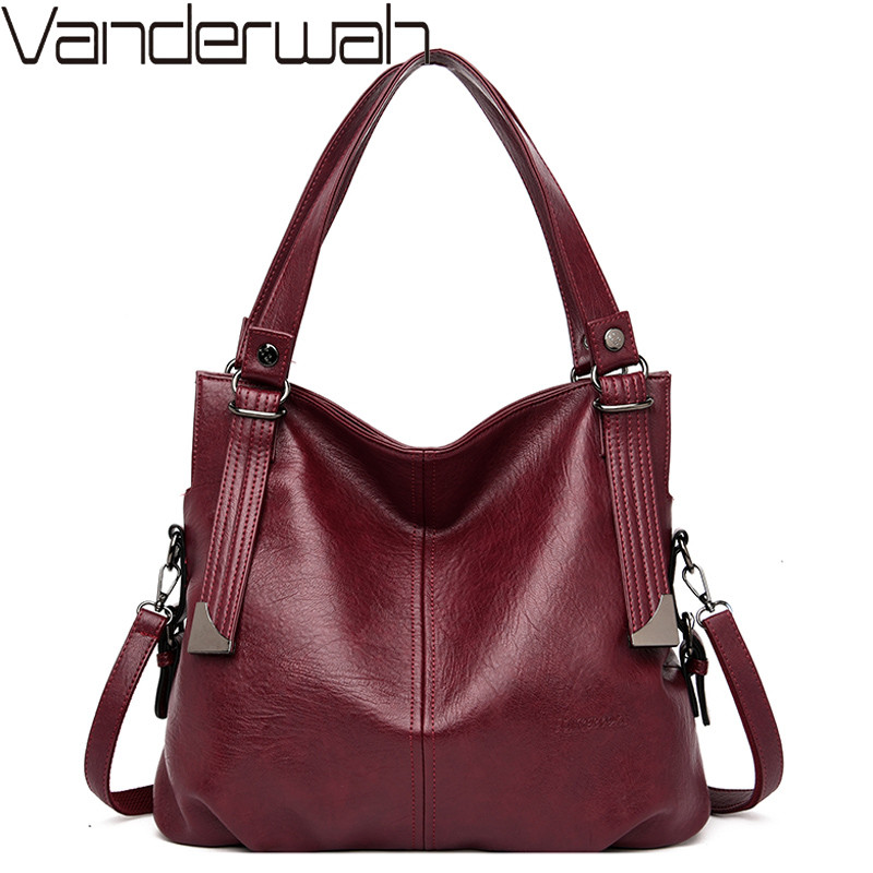 Vintage Women Handbags Female Soft Leather Shoulder Crossbody Bags For Woman Luxury Brand Tote Handbags Ladies Hand Bags Mochila