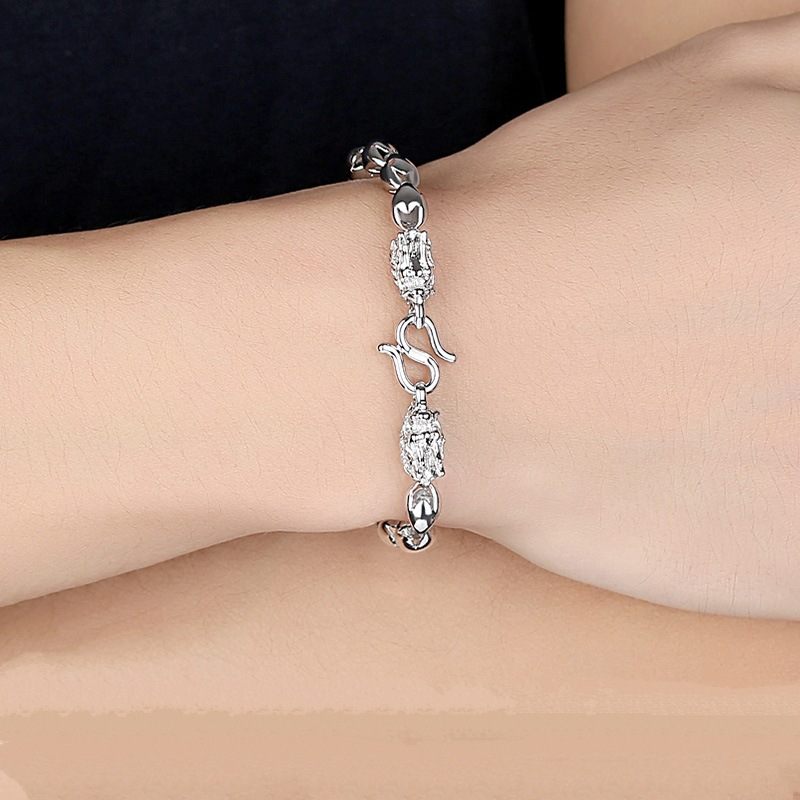 925 Silver Dragon Head Bracelet Men's Personality Domineering Vintage Silver Jewelry Men's 925 Bracelet