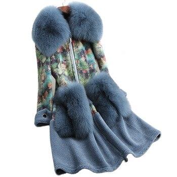 2019 Otoño/Invierno piel Haining abrigo de terciopelo de oveja con abrigo con cuello de zorro largo abrigos de piel
