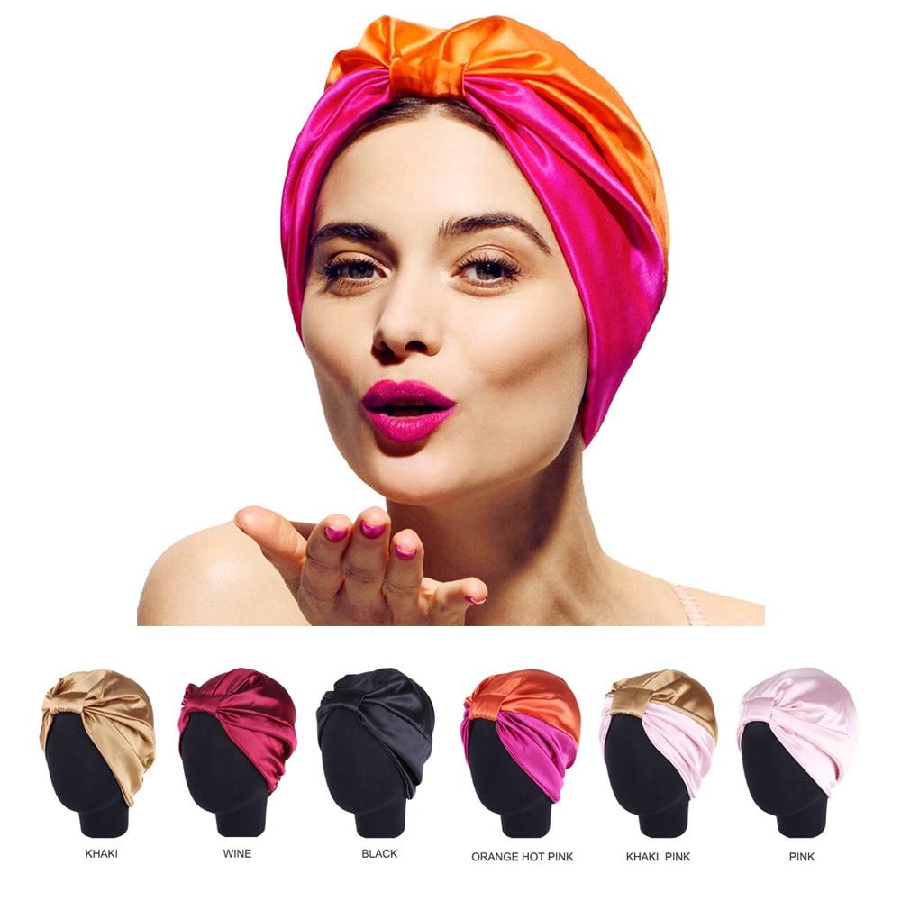 6 Colors Satin Bonnet Salon Bonnet Night Hair Hat For Natural Curly Hair Double Elastic Bathing Sleep Women Head Cover Wrap Hat