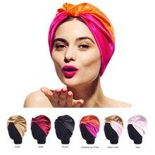 6 Colors Satin Bonnet Salon Bonnet Night Hair Hat For Natura