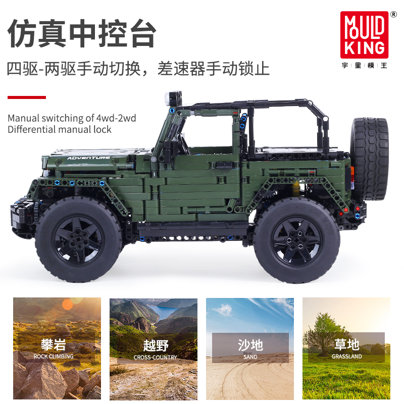 Mould King MOC Technic RC Jeeps Wrangler Adventure Off-road vehicle Model Building Blocks Bricks Compatible lepind Toys DIY Gift 2