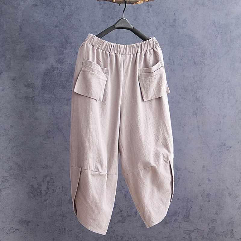Estate High Street Vintage Cotone di Tela Tasche Delle Donne Pantaloni Stile Harem Elastico in Vita Solido Sciolto Casual Polpaccio Femminile Dei Pantaloni di Lunghezza