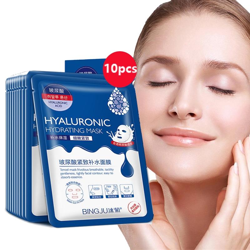 10 штук для лица с гиалуроновой кислотой, тканевая маска поры увлажняющее масло-Управление анти-старения пополнения Отбеливание Уход за лиц...