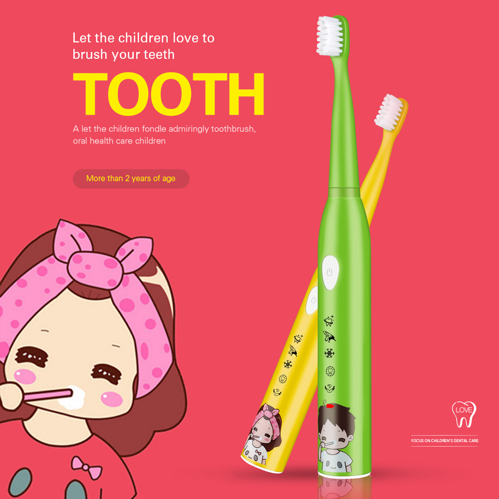 5 Modes Children Sonic Electric Toothbrush USB Rechargeable Cartoon Pattern For Kids Teeth Tooth Brush With 4 Replacement Heads