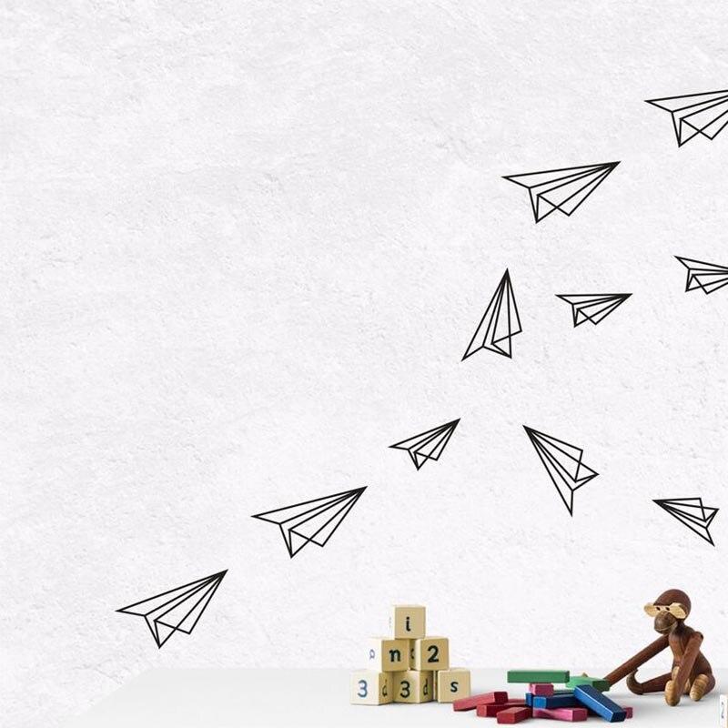 С рисунком в виде птичек-оригами Самолет Самолеты Настенная Наклейка для мальчика Детская комната и рисунком в виде птичек-оригами биплан С...