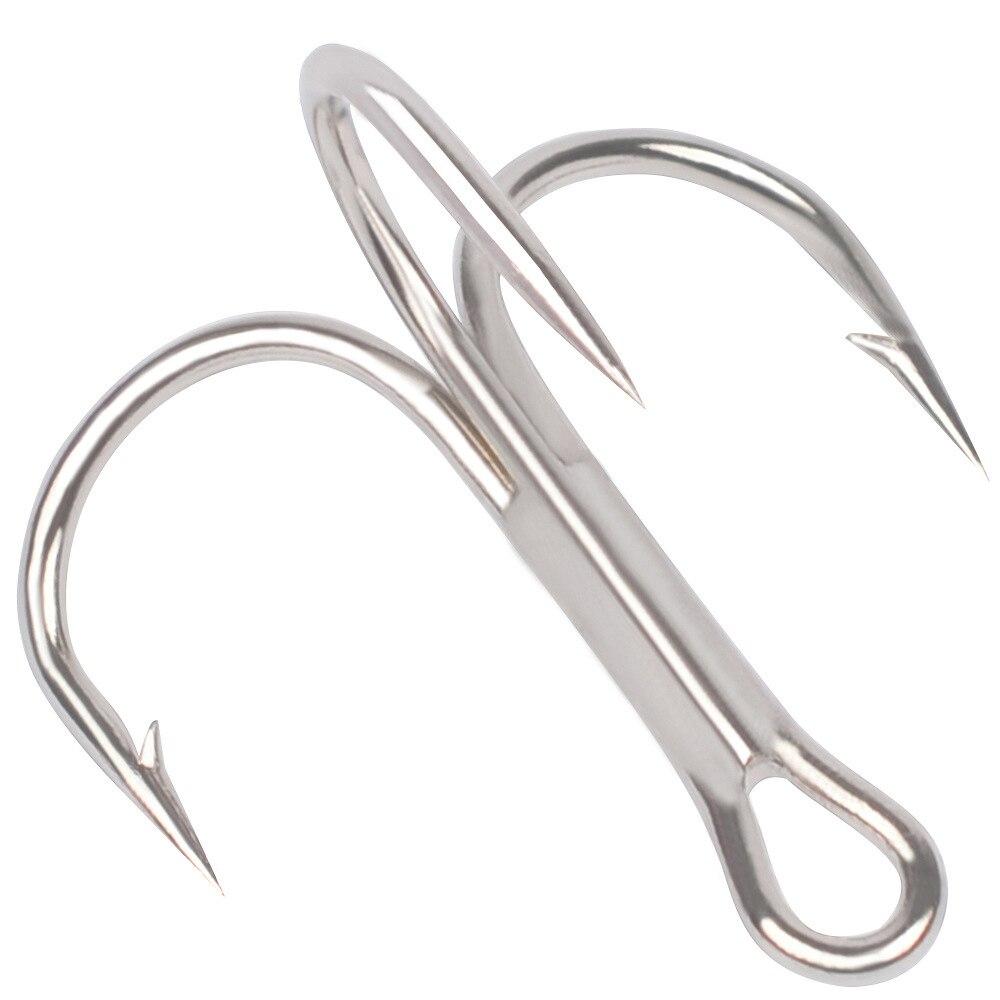 Victorsense 10pcs/lot Treble Fishing Hooks Carbon Steel Lures Silver Hooks Sharp Barbed Triple Fishhooks Tackle 3/0-10# VSYG003
