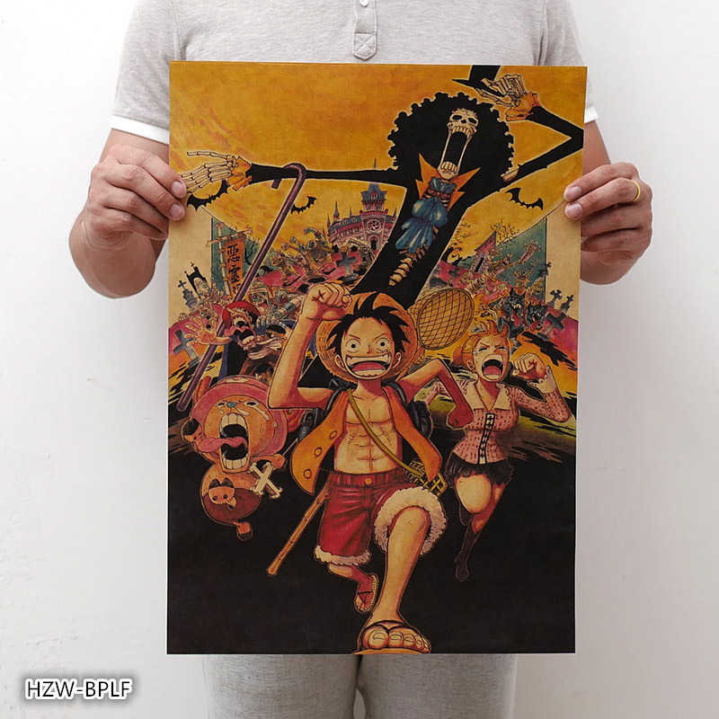 New One Piece Poster vintage Classic Anime Cartoon Kraft Paper Poster Painting Wall Stickers Home Decorative wall art
