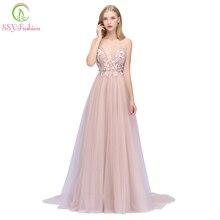 SSYFashion, новинка, сексуальное розовое вечернее платье с v-образным вырезом, без рукавов, Цветочная аппликация, шлейф, без спинки, вечерние платья для выпускного вечера, Robe De Soiree
