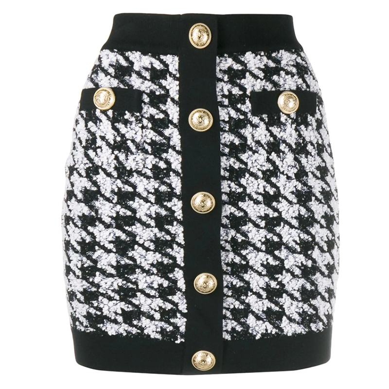 HIGH QUALITY Newest 2020 Designer Skirt Womens Lion Buttons Shimmer Tweed Houndstooth Mini SkirtSkirts