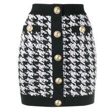 Wysoka dobrej jakości, najnowsze 2020 projektant spódnica damskie guziki z lwem Shimmer Tweed Houndstooth Mini spódniczka