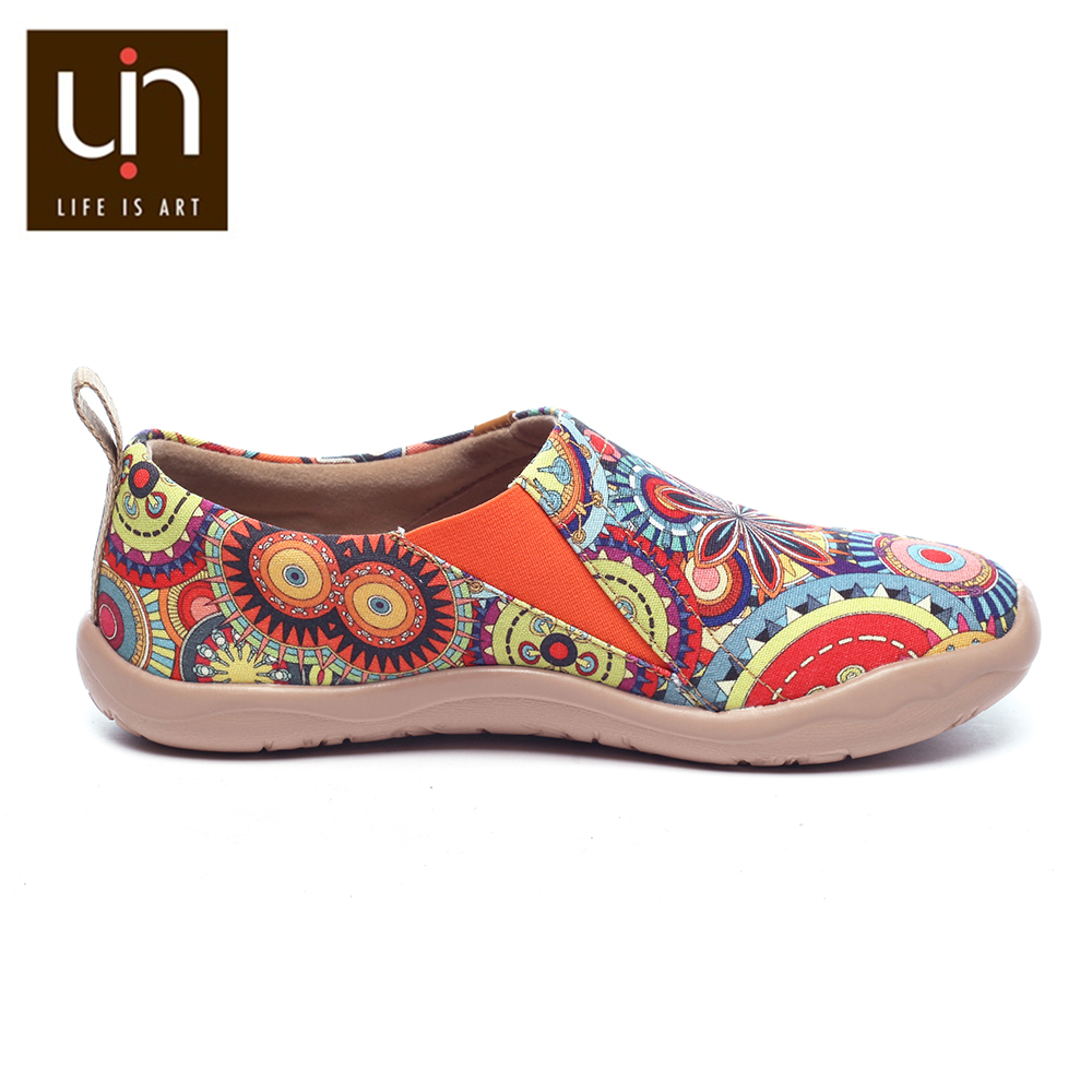 UIN Blossom Design Colorful Art Painted Canvas Loafers for Women Wide Feet Comfort Shoes Ladies Outdoor Soft Sneaker Lightweight 3