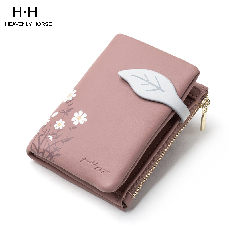 Women's Short Wallet Purses Leather Wallet Women Card Holder Ladies Purse Clutch Holder Phone Bag Fashion Sweet Girl Gift