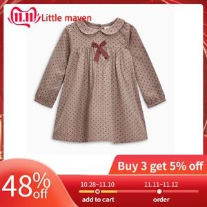 Little maven 2-7Years 2020 Autumn Wave Point Dresses For Girls Toddler Baby Girls Dress Children Kids Tops Dress Fall Clothing