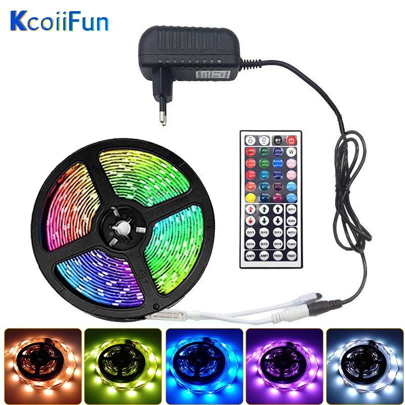 Светодиодные ленты 5050 2835 IP20 RGB 5, 10 м, 15 м, 20 м светодиодный светильник гибкая лента DC 12V RGB Диодная лента ИК и WI-FI контроллер адаптер Декор