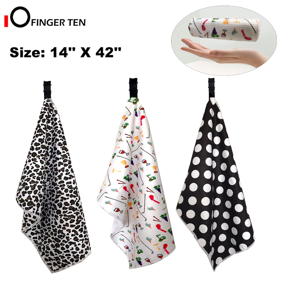 Golf Towels Women For Golf Bags With Clip Grommet Waffle Ladies Towel Microfiber 42 X 14 Large Size In Colors