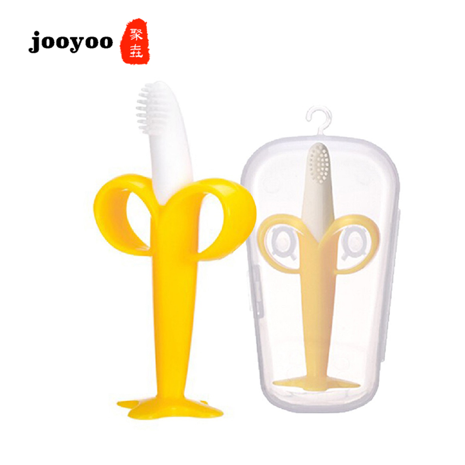 Baby Silicone Banana Training Toothbrush Shape Safe Toddle Teether Chew Toys Teething Ring Gift For Infant Toddler Toys
