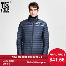 TIGER FORCE 2020 new spring and autumn men's warm casual jacket high quality hood coat outerwear zipper down ultralight 50601(China)