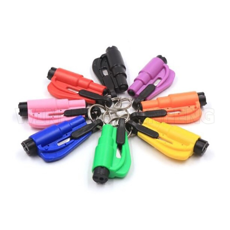 Mini Seat Belt Cutter Self Defense Keychain Car Window Breaker Life-Saving Escape Safety Hammer Self Defense Stinger Weapon