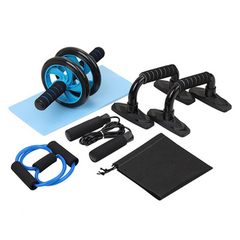 5-in-1 Wheel Roller Kit Push-Up Bar Jump Rope Knee Pad for Training Fitness Home FEA889