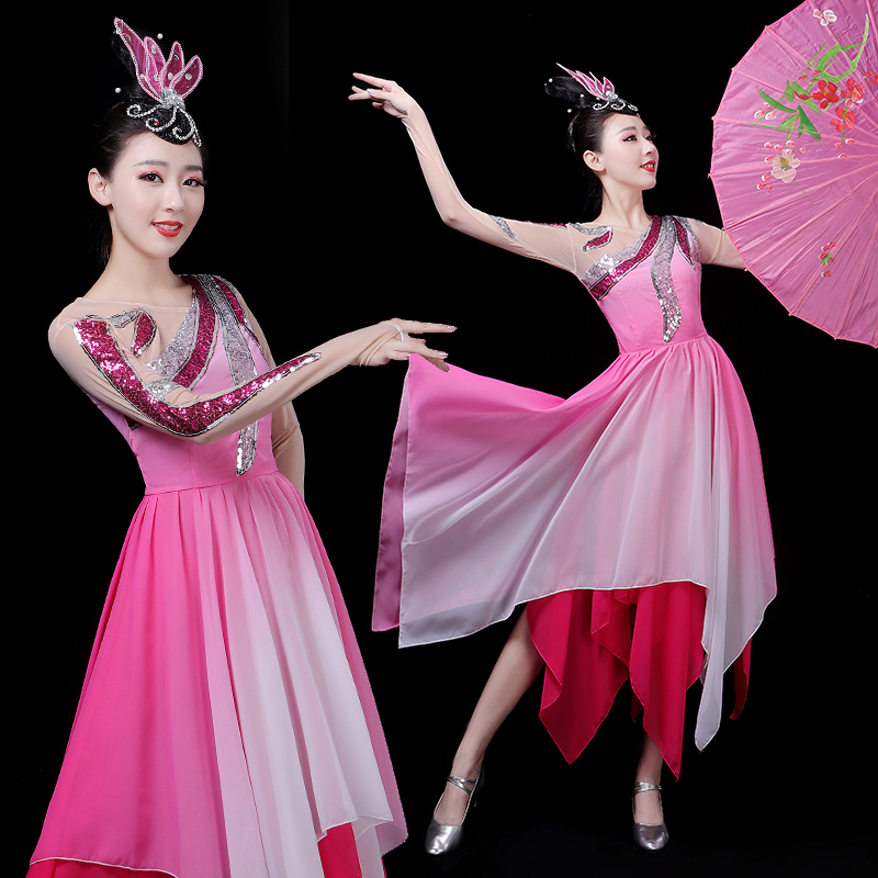 2021 Classical Dance Clothes Women Stage Costume Flamenco Dress Fairy Gypsy Dresses Opening Dance Outfit Extoic Dance Wears