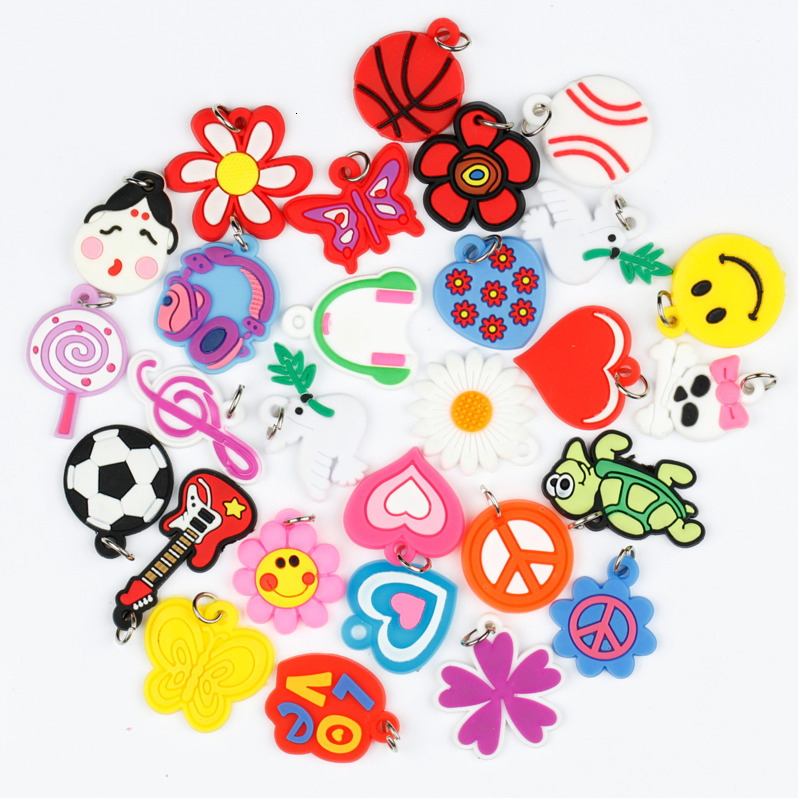 100pcs Pendants DIY Colorful Loom Rubber Band Bracelet Jewelry Making Beads Toy  Colorful Animal Flower Beads Random Style 2019