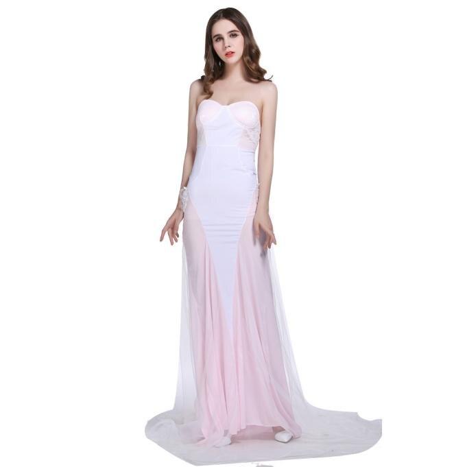 KLV Sexy épaule dénudée gaze robes à lacets rose nouveau printemps été 2019 longue maxi fête de bal 7.29