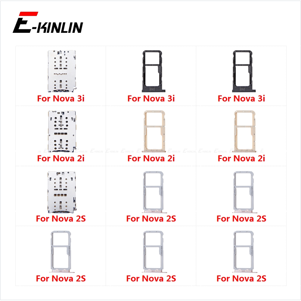 Sim Card Tray Socket Slot Reader Adapter Micro SD Card For HuaWei Nova 3i 2i 2S Holder Connector Container Replacement Parts