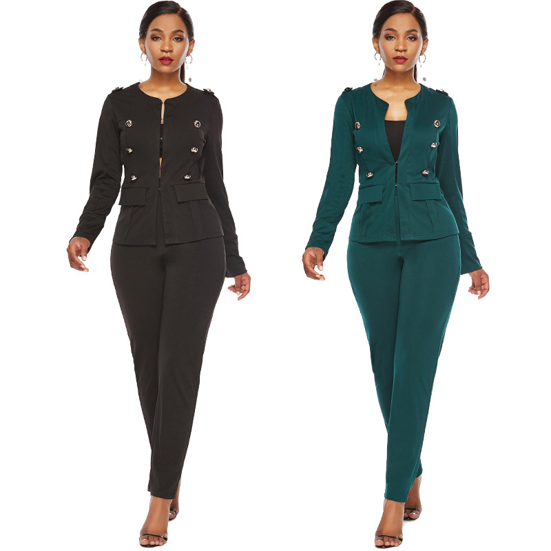2019 New Autumn Sexy Women's Two-piece European And American Fashion Solid Color Long-sleeved Button  Suit 2 Pc Women Set