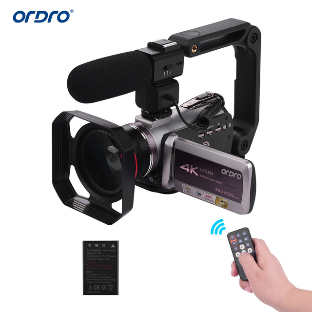 "ORDRO WiFi Digital Video Camera 4K UHD 30FPS Camcorder 3.1"" IPS 64X IR Night Vision Wide Angle Lens External Stereo Mic Len Hood"
