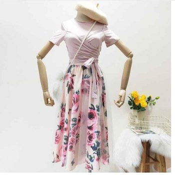 New summer Elegant Pink 2 Piece Set Women Sweet Cross Bowknot Irregular Crop Top T Shirt + Mesh Floral Tulle Long Skirts Suits image