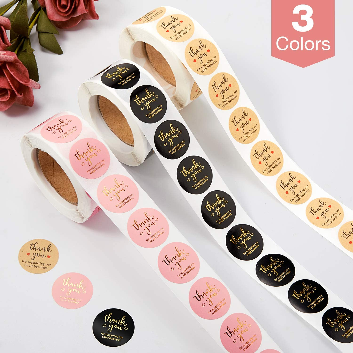 Thank You Stickers Labels Seals Thank You for Supporting My Small Business Stickers Roll Round Kraft Pink Black Labels For Shop