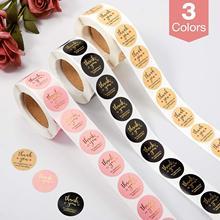 Obrigado etiquetas etiquetas selos obrigado por apoiar meu pequeno negócio etiquetas rolo redondo kraft rosa preto etiquetas para a loja
