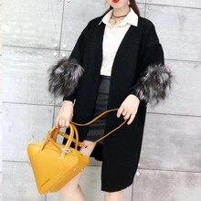 Real Fox Fur Casual knitted long cardigan female Loose jumper Warm winter sweater women plus size coat