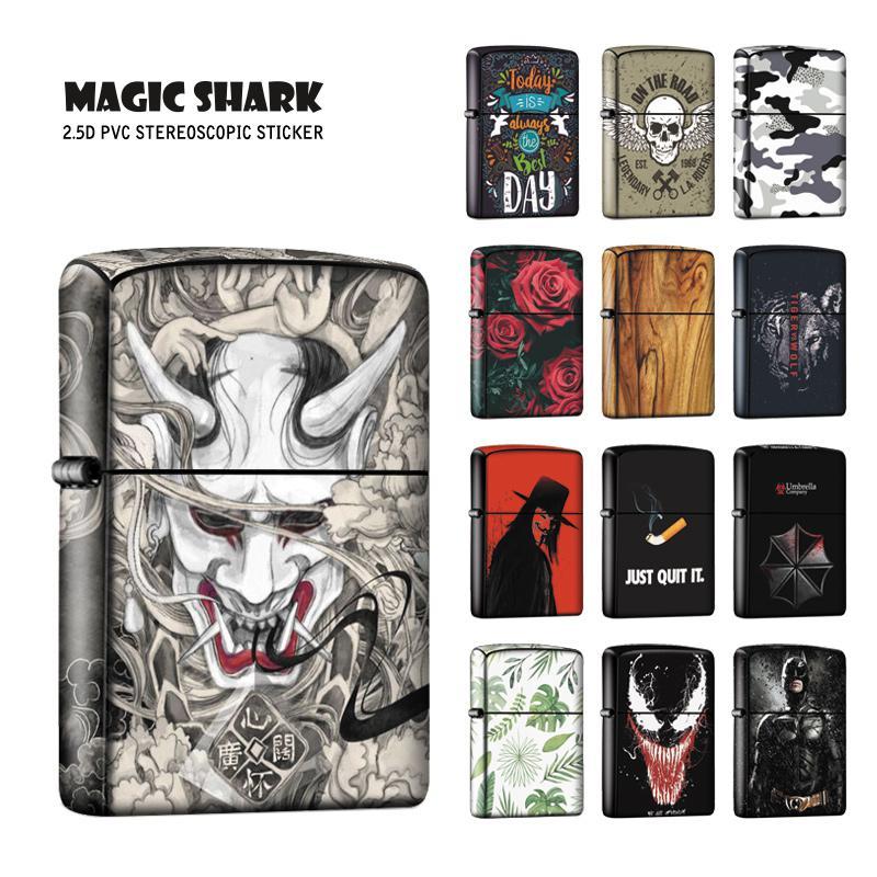 Magic Shark Vendetta Wolf Leaf Skull Devil Rabbit Batman Venom Stereo Film Cover Sticker Case For Zippo Lighter