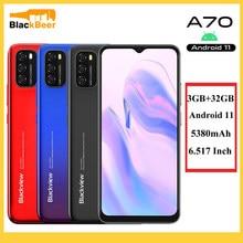 Blackview a70 6.5 Polegada 4g smartphone android 11 octa núcleo do telefone móvel 3gb 32gb celular 13mp camere traseiro 5380mah 8.3mm magro