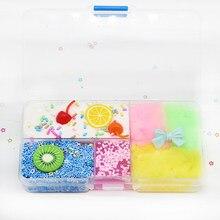 1 caixa de frutas coloridas slime diy brinquedos argila de algodão cereja bonito elasticidade plasticina argila cristal azul stress brinquedo alívio