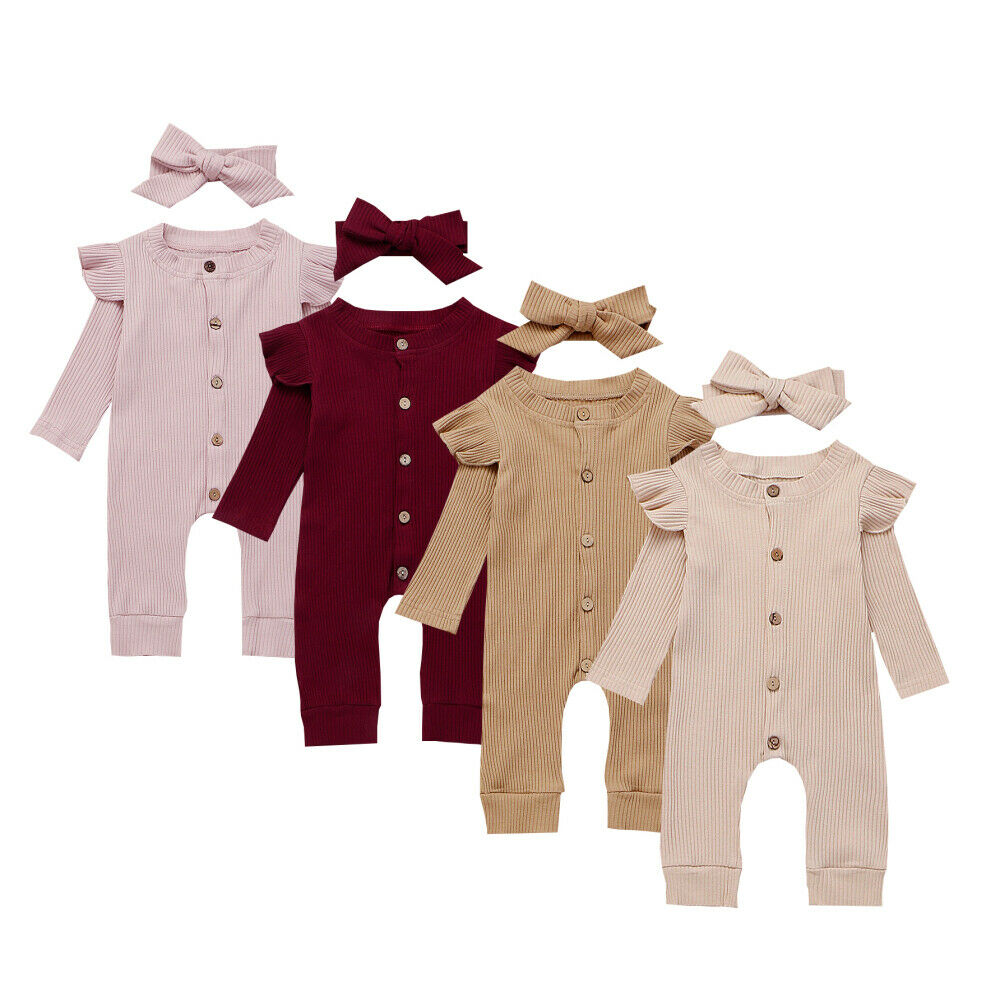 2PCS Baby Girl Boy Cotton Clothes Knitted   Romper   Jumpsuit Headband Autumn Outfits Costume Toddler Girls Winter Clothing Set 2019