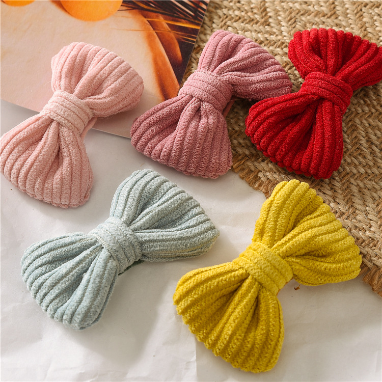 New Candy Colors Bow Hairpin Cotton Art Cute Girl Baby Korean Headgear Girl Knotted BB Clip Hairpin Hair Accessories