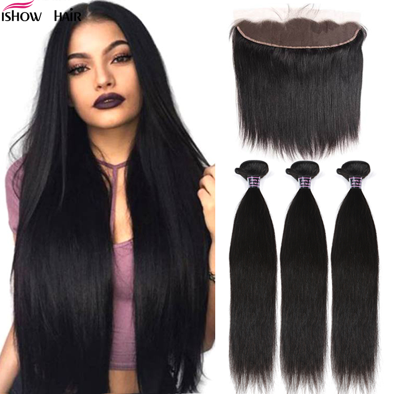 Ishow Transparent Lace Closure With Bundles Straight Human Hair Bundles With Closure Frontal Malaysian Hair Bundles With Frontal