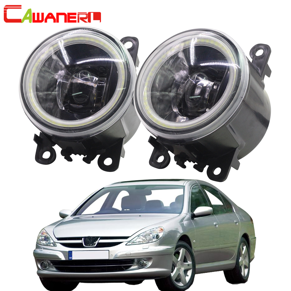 Cawanerl For <font><b>Peugeot</b></font> <font><b>607</b></font> (9D, 9U) Saloon 2000 2001 2002 2003 <font><b>2004</b></font> 2005 2006 Car 4000LM LED Bulb Fog Light Angel Eye DRL 12V image